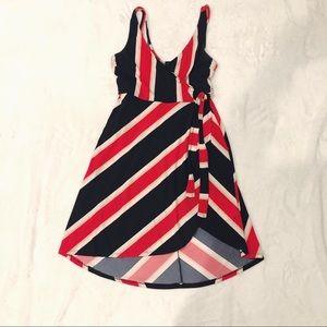 Express | Striped Wrap Dress Sz M